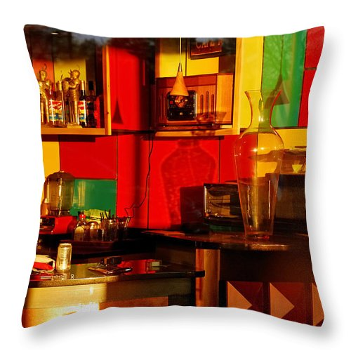 Skip Hunt Throw Pillow featuring the photograph Coffee Shop by Skip Hunt