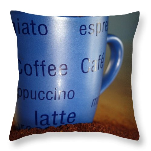 Coffee Throw Pillow featuring the photograph Coffee Straight Up by Cathy Beharriell