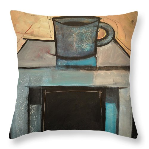 Coffee Throw Pillow featuring the painting Coffee Table by Tim Nyberg