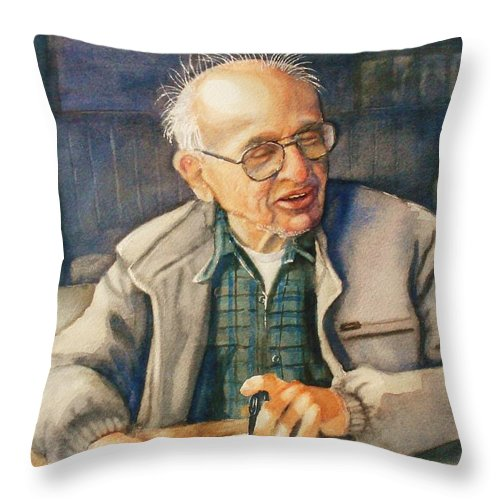 Coffee Throw Pillow featuring the painting Coffee With Andy by Marilyn Jacobson