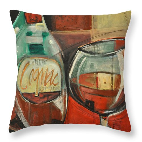 Alcohol Throw Pillow featuring the painting Cognac by Tim Nyberg
