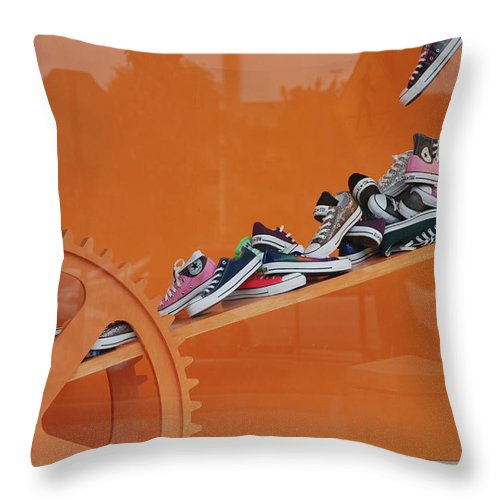 Orange Throw Pillow featuring the photograph Cogs N Converse by Rob Hans