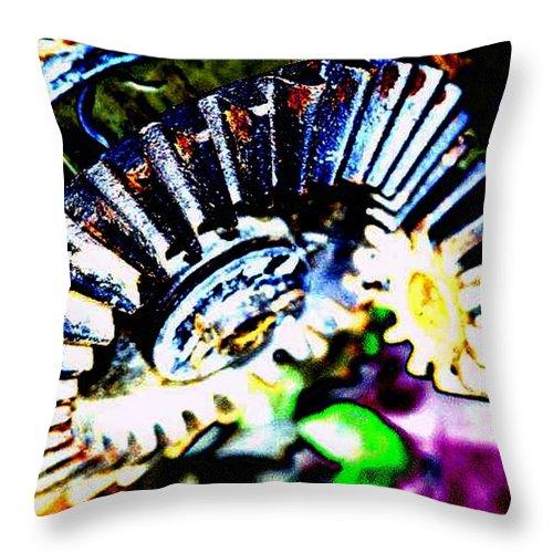 Cogs Throw Pillow featuring the digital art Cogs by Tim Allen