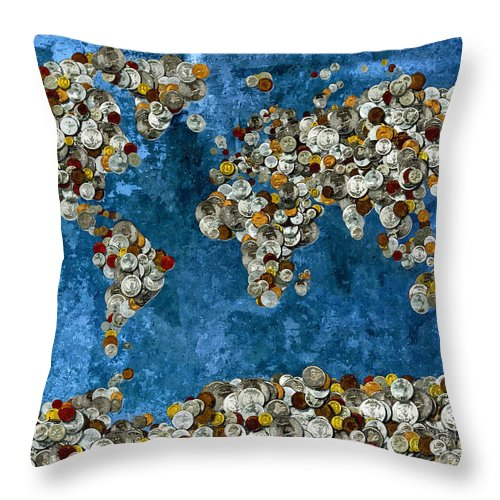 Coins World Map Throw Pillow featuring the mixed media Coins World Map by Daniel Janda