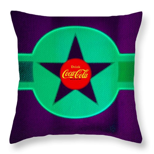 Label Throw Pillow featuring the painting Coke N Lime by Charles Stuart