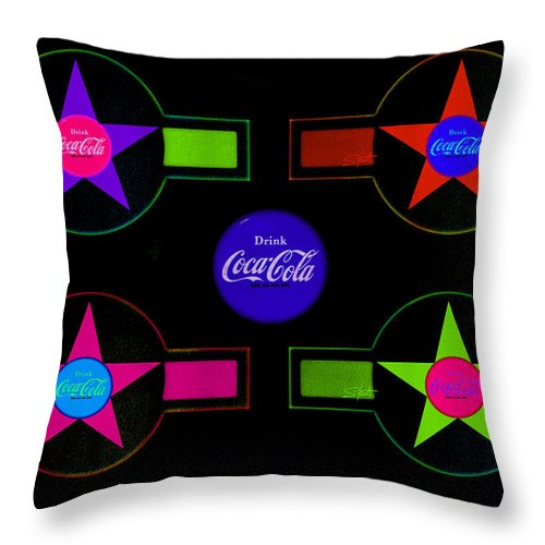 Label Throw Pillow featuring the painting Cola-candy by Charles Stuart