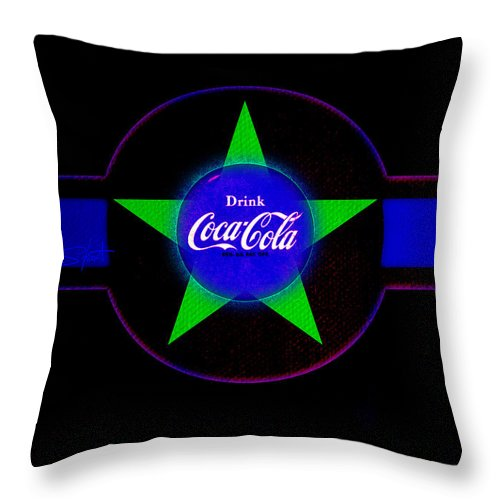 Label Throw Pillow featuring the painting Cola N Lime II by Charles Stuart