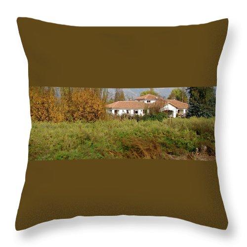 Colchagua Throw Pillow featuring the photograph Colchagua Valley Villa by Brett Winn