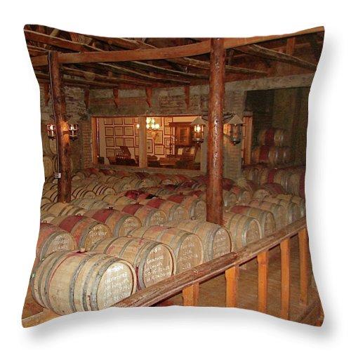Colchagua Throw Pillow featuring the photograph Colchagua Valley Wine Barrels by Brett Winn