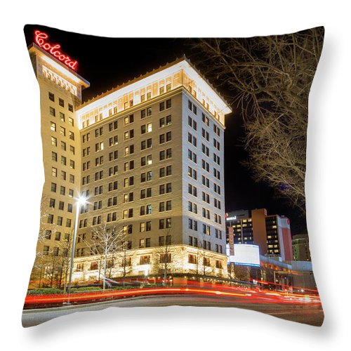 Okc Throw Pillow featuring the photograph Colcord At Night by Ricky Barnard