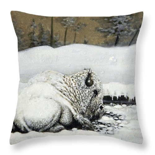 Animals Throw Pillow featuring the painting Cold And Tired by Stan White