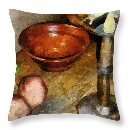 Still Life Throw Pillow featuring the painting Cold Comfort Kitchen by RC DeWinter