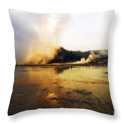 Grand Prismatic Spring Throw Pillow featuring the photograph Cold Morning Sunrise At Grand Prismatic Spring by Teresa Zieba
