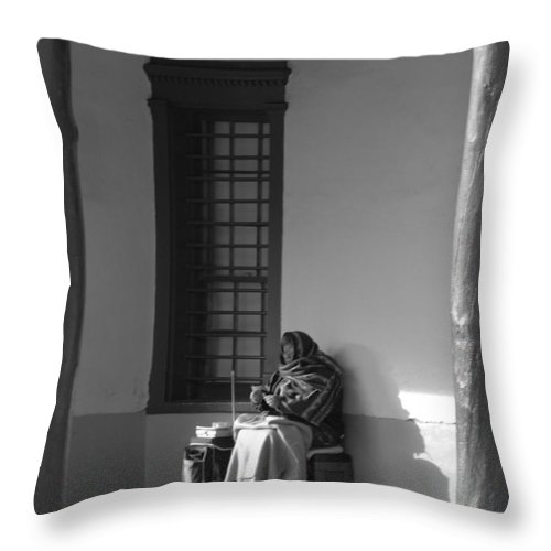 Southwestern Throw Pillow featuring the photograph Cold Native American Woman by Rob Hans