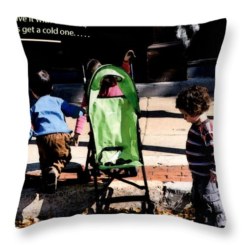 Youngsters Throw Pillow featuring the photograph Cold One by Leon Hollins III