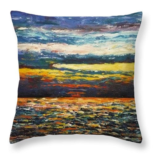Landscape Throw Pillow featuring the painting Cold Sunset by Ericka Herazo