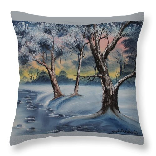 Winter Throw Pillow featuring the painting Cold Winter by Nadine Westerveld