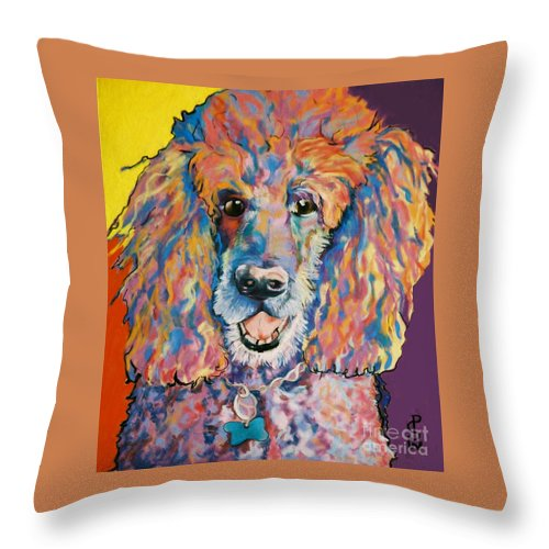 Standard Poodle Throw Pillow featuring the painting Cole by Pat Saunders-White