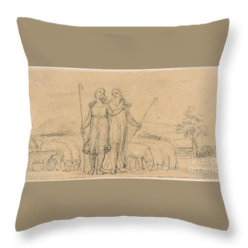 William Blake Throw Pillow featuring the painting Colinet And Thenot by MotionAge Designs