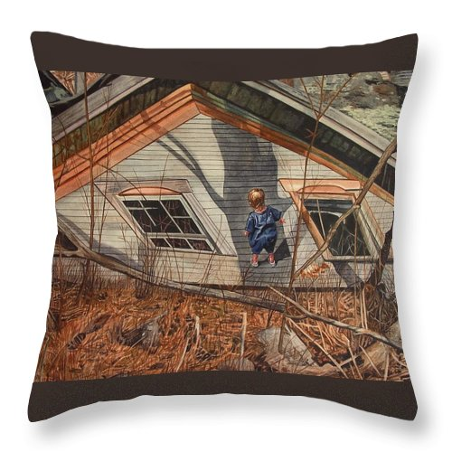 Children Throw Pillow featuring the painting Collapsed by Valerie Patterson