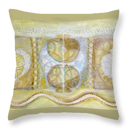 Symbolism Throw Pillow featuring the painting Collective Unconscious Three Equals One Equals Enlightenment by Kerryn Madsen- Pietsch