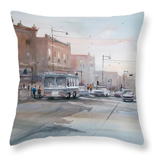 Ryan Radke Throw Pillow featuring the painting College Avenue - Appleton by Ryan Radke