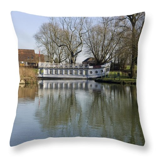 Banks Throw Pillow featuring the photograph College Barge At Sandford Uk by Mike Lester