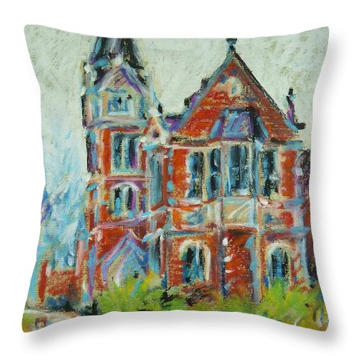 Library Throw Pillow featuring the pastel College Life by K M Pawelec