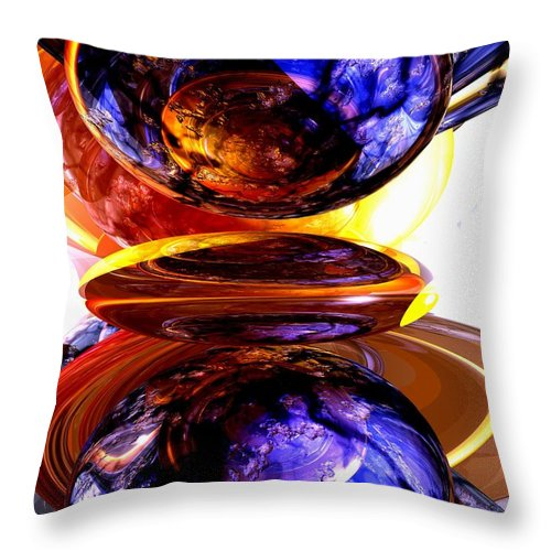 3d Throw Pillow featuring the digital art Colliding Forces Abstract by Alexander Butler