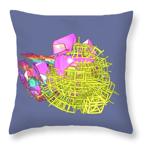 Abstract Throw Pillow featuring the digital art Colliding Worlds by Frederic Durville