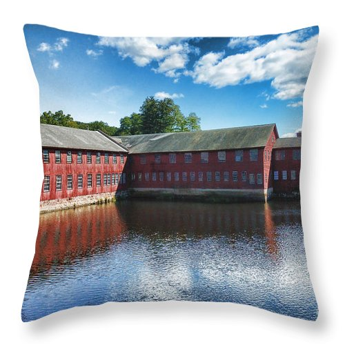 Collins Axe Throw Pillow featuring the photograph Collins Axe Factory by Edward Sobuta