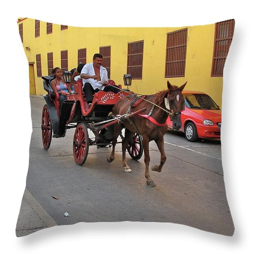 Columbia Throw Pillow featuring the photograph Colombia Carriage by Brett Winn