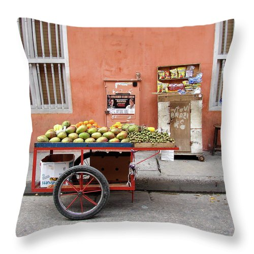 Colombia Throw Pillow featuring the photograph Colombia Fruit Cart by Brett Winn