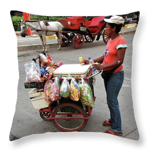 Colombia Throw Pillow featuring the photograph Colombia Srteet Cart by Brett Winn