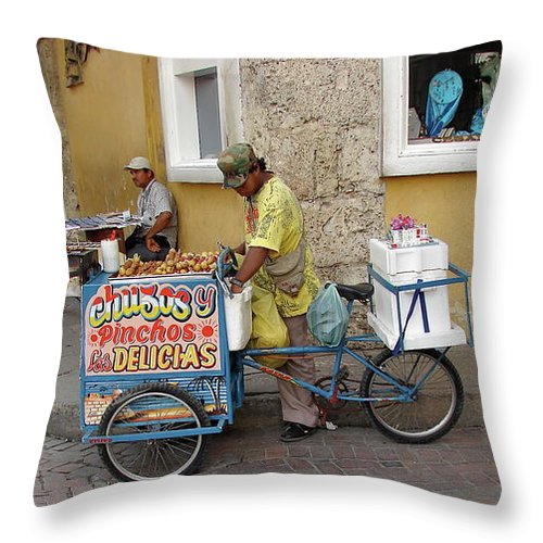 Colombia Throw Pillow featuring the photograph Colombia Srteet Cart II by Brett Winn