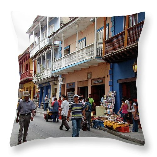 Colombia Throw Pillow featuring the photograph Colombia Streets by Brett Winn