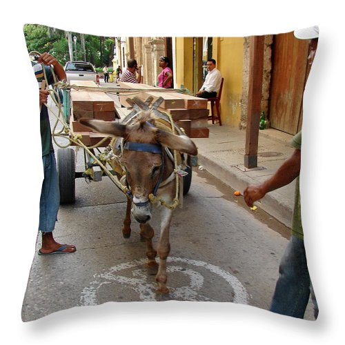 Colombia Throw Pillow featuring the photograph Colombia Streets II by Brett Winn
