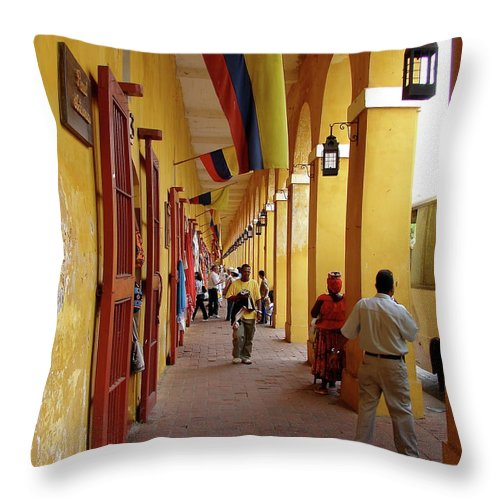 Colombia Throw Pillow featuring the photograph Colombia Walkway by Brett Winn