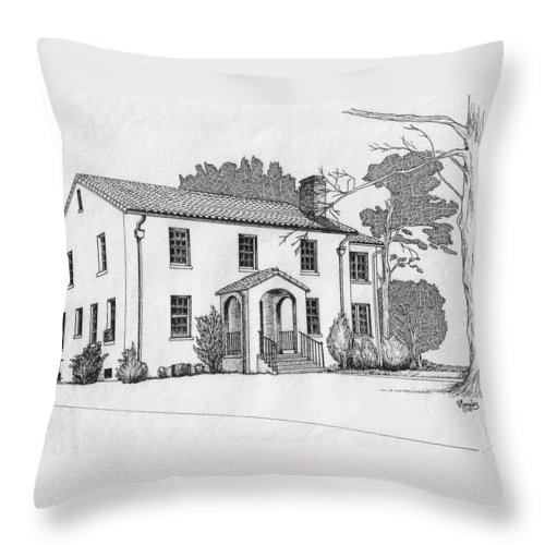 Drawing - Pen And Ink Throw Pillow featuring the drawing Colonel Quarters 2 - Fort Benning Ga by Marco Morales