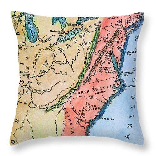 18th Century Throw Pillow featuring the photograph Colonial America Map by Granger