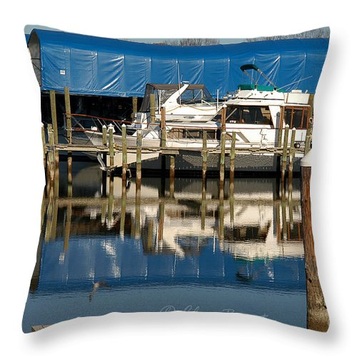 Clay Throw Pillow featuring the photograph Colonial Beach Marina by Clayton Bruster