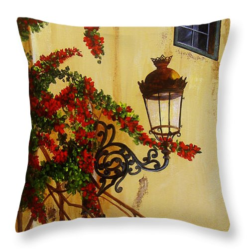 Cuban Painter Throw Pillow featuring the painting Colonial Corner by Dominica Alcantara