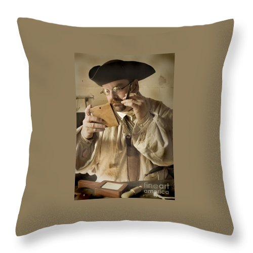 Primitive Throw Pillow featuring the photograph Colonial Man Shaving by Kim Henderson