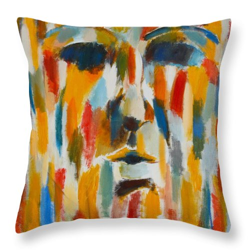 Yellow Throw Pillow featuring the painting Color Blind by Habib Ayat