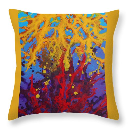 Colorful Throw Pillow featuring the painting Color Clash by Tania Greer