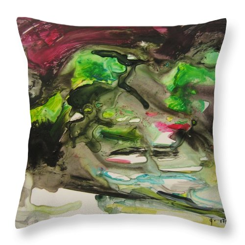 Abstract Paintings Throw Pillow featuring the painting Color Fever 114 by Seon-Jeong Kim