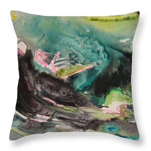 Abstract Paintings Throw Pillow featuring the painting Color Fever Series009 by Seon-Jeong Kim