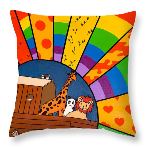 Noah's Ark Throw Pillow featuring the painting Color Flood by GG High