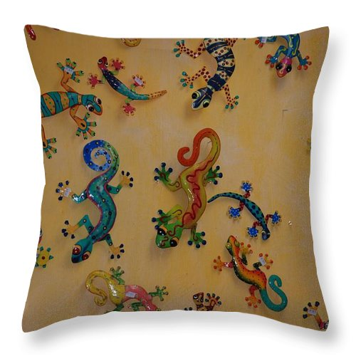 Pop Art Throw Pillow featuring the photograph Color Lizards On The Wall by Rob Hans