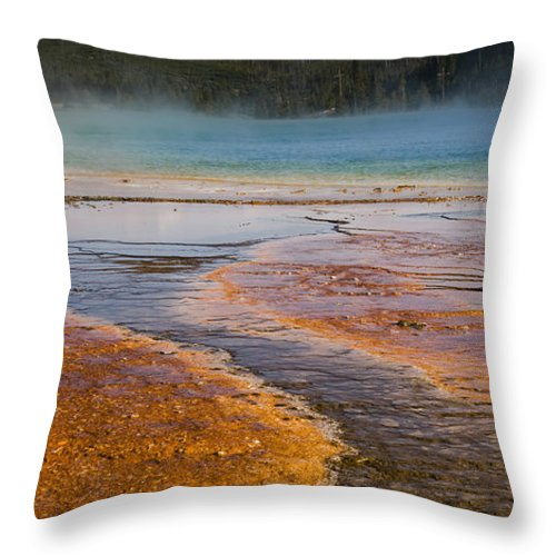 Grand Prismatic Spring Throw Pillow featuring the photograph Color Of Life by Chad Davis